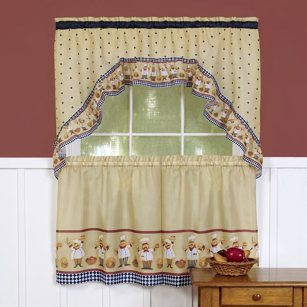 Traditional Two Piece Tailored Tier And Swag Window Curtains Set With Happy Chef Print Throughout White Tone On Tone Raised Microcheck Semisheer Window Curtain Pieces (View 13 of 46)