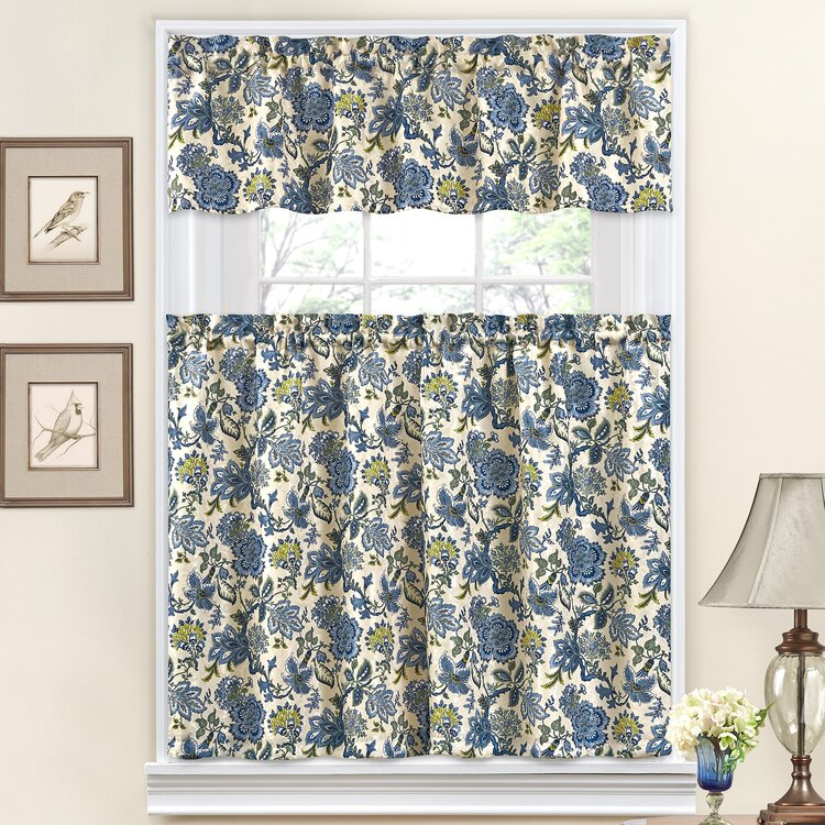 """Traditionswaverly Navarra Floral 52"""" Valance And Tier Intended For Waverly Felicite Curtain Tiers (View 15 of 45)"""