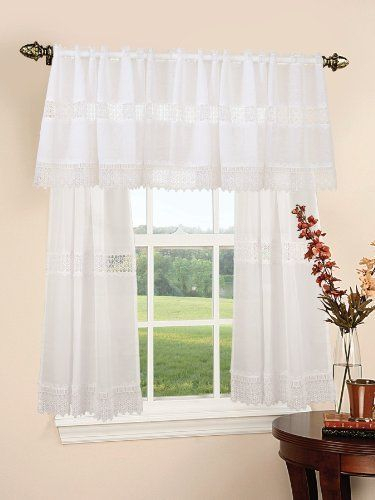 Treasure Lace Design Sheer Three Piece Kitchen Curtain Set Pertaining To Scroll Leaf 3 Piece Curtain Tier And Valance Sets (View 19 of 50)