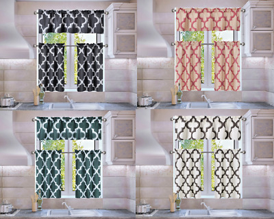 Trellis Geometric Panel Blackout Lined Window Kitchen 3Pc Curtain Set Moza  | Ebay In Geometric Print Microfiber 3 Piece Kitchen Curtain Valance And Tiers Sets (View 21 of 30)