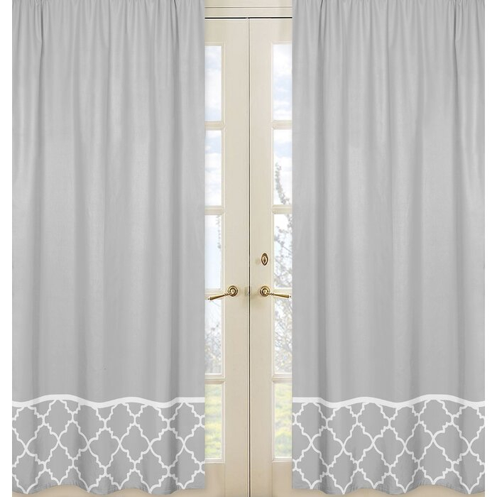 Trellis Geometric Semi Sheer Rod Pocket Curtain Panels For Micro Striped Semi Sheer Window Curtain Pieces (#30 of 30)