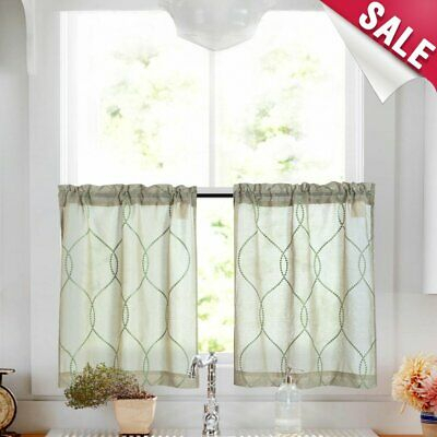 Trellis Pattern Embroidered Kitchen Tier Curtains And Valance Sets For  Bathroom | Ebay With Regard To Kitchen Window Tier Sets (#44 of 50)