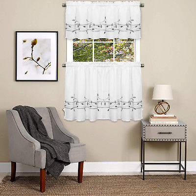 Trellis Scrolling Leaf Pattern Kitchen Window Curtain Tiers Or Valance Gray | Ebay In Navy Vertical Ruffled Waterfall Valance And Curtain Tiers (View 7 of 30)