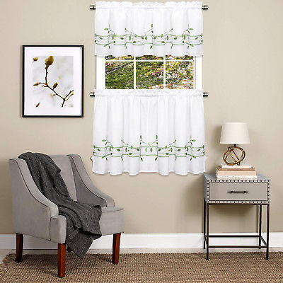 Trellis Scrolling Leaf Pattern Kitchen Window Curtain Tiers Or Valance  Green | Ebay With Tailored Valance And Tier Curtains (#45 of 50)