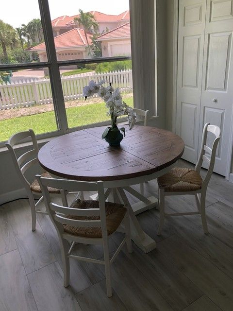 Popular Photo of Driftwood White Hart Reclaimed Pedestal Extending Dining Tables