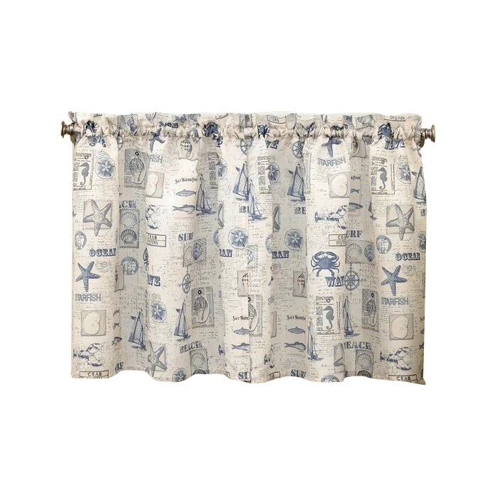 Troskythe Sea Printed Ocean Beach Kitchen Tier Curtain With Regard To Twill 3 Piece Kitchen Curtain Tier Sets (View 16 of 42)