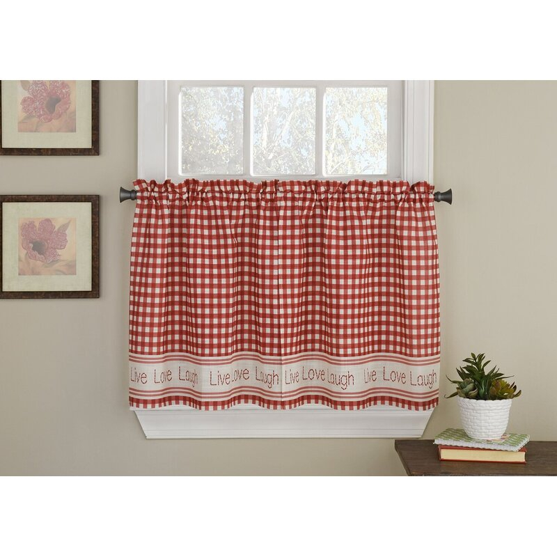 Turley Live Laugh Love Checkered Tier Pair Cafe Curtain Pertaining To Live, Love, Laugh Window Curtain Tier Pair And Valance Sets (View 41 of 50)