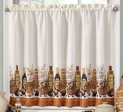 Tuscany Olive Oil Kitchen Curtains Tier And Valance Set Pertaining To Microfiber 3 Piece Kitchen Curtain Valance And Tiers Sets (View 12 of 30)