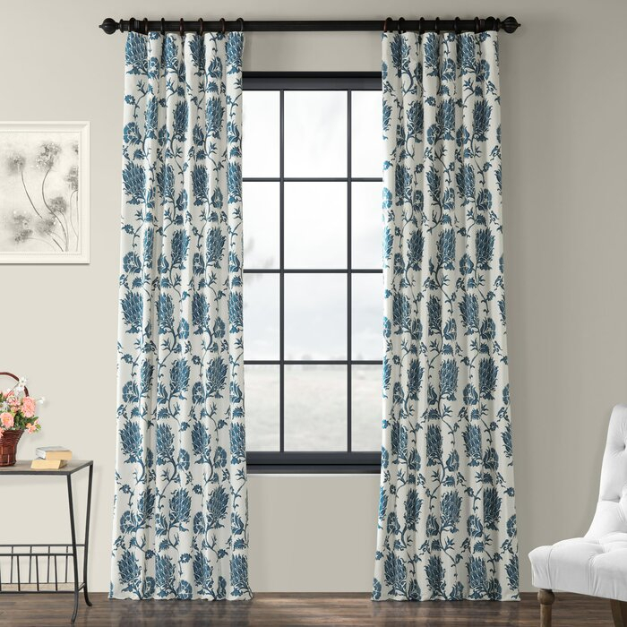 Tyne Printed Cotton Twill Floral Room Darkening Thermal Rod Pocket Single  Curtain Panel With Pastel Damask Printed Room Darkening Kitchen Tiers (#41 of 50)