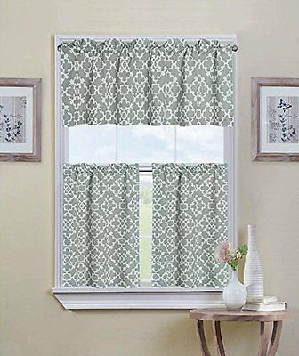 Inspiration about Ultra Luxurious Grey Shabby 3 Piece Kitchen Curtain Tier Inside Geometric Print Microfiber 3 Piece Kitchen Curtain Valance And Tiers Sets (#2 of 30)