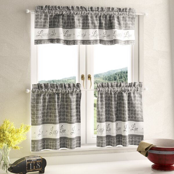 Unique Kitchen Curtains | Wayfair For Geometric Print Microfiber 3 Piece Kitchen Curtain Valance And Tiers Sets (View 23 of 30)