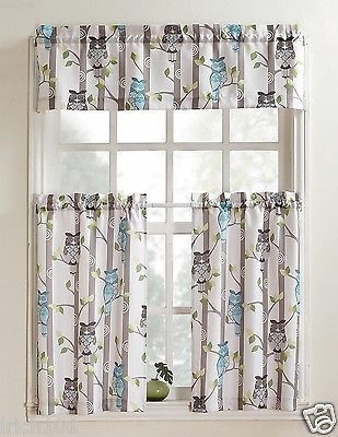 Unique Multi Colored 3 Piece Owl Printed Kitchen Curtain Set With Regard To Kitchen Curtain Tiers (View 15 of 50)