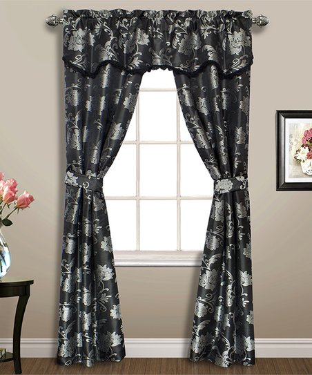 United Curtain Black Floral Carrington Five Piece Curtain Panel Set In Grandin Curtain Valances In Black (View 28 of 30)