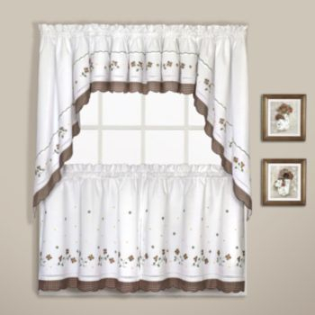 Inspiration about United Curtain Co. Gingham Swag Tier Kitchen Window Curtains Throughout Floral Embroidered Sheer Kitchen Curtain Tiers, Swags And Valances (#14 of 50)