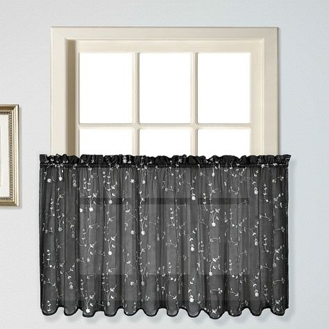 Inspiration about United Curtain Savannah Window Tier Black | Products In 2019 Throughout Twill 3 Piece Kitchen Curtain Tier Sets (#29 of 42)