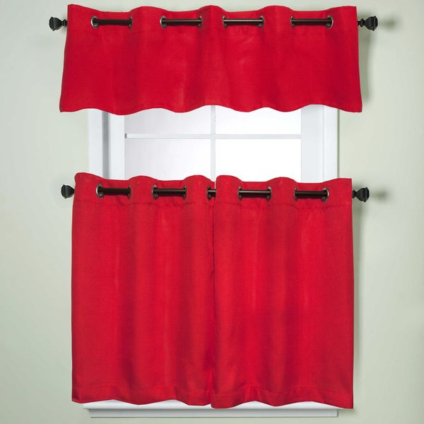 Popular Photo of Modern Subtle Texture Solid Red Kitchen Curtains