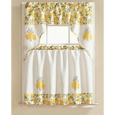 Urban Embroidered Lemon Tier And Valance Kitchen Curtain Set With Regard To Fluttering Butterfly White Embroidered Tier, Swag, Or Valance Kitchen Curtains (View 49 of 50)
