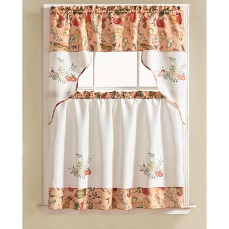 Inspiration about Urban Embroidered Vegetable Tier And Valance Kitchen Curtain Within Grace Cinnabar 5 Piece Curtain Tier And Swag Sets (#4 of 30)