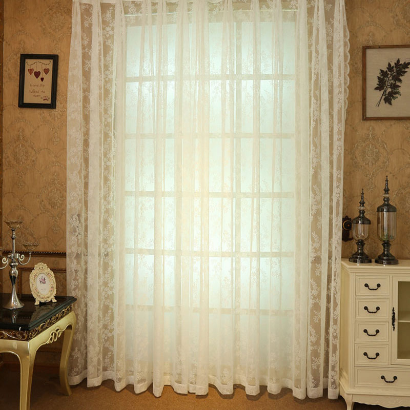 Inspiration about Us $11.58 |Crocheted Lace Curtains Pastoral Flower Pattern Window Valance  Sheer Crochet Kitchen Cafe Tulle Vertical Curtains Customed In Curtains  From Regarding Floral Pattern Window Valances (#29 of 50)