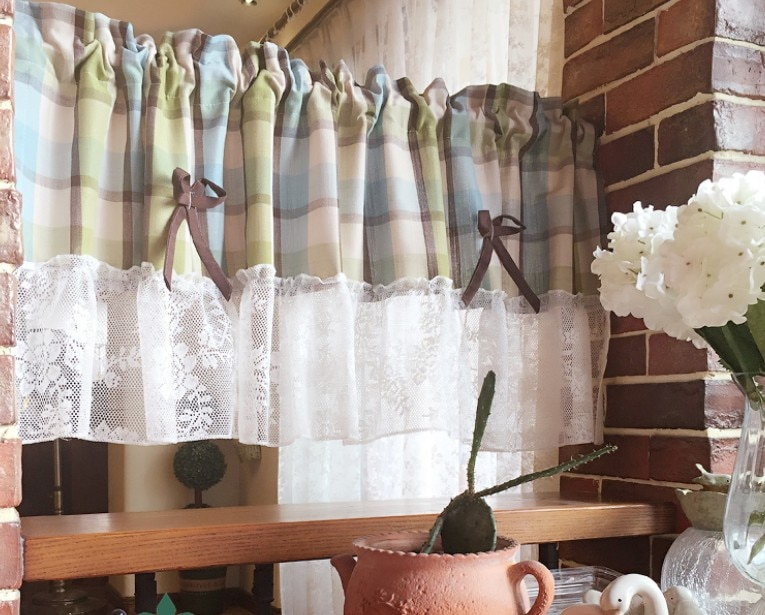 Inspiration about Us $13.77 5% Off|Kitchen Curtain White Lace Green Beige Plaid Embroider  Half Cafe Curtain For Kitchen Living Room Decorative Cabinet Curtain  Aa45 In With Regard To Embroidered Floral 5 Piece Kitchen Curtain Sets (#8 of 30)