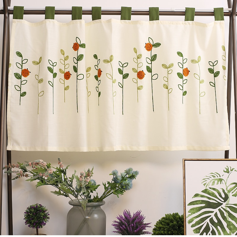 Popular Photo of Embroidered Ladybugs Window Curtain Pieces