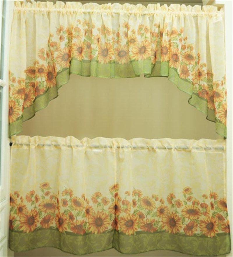 Inspiration about Us $22.8 5% Off|5 Piece America Sunflower Printing Kitchen Window Curtain  Set Tiers Valance In Curtains From Home & Garden On Aliexpress With Window Curtain Tier And Valance Sets (#5 of 50)