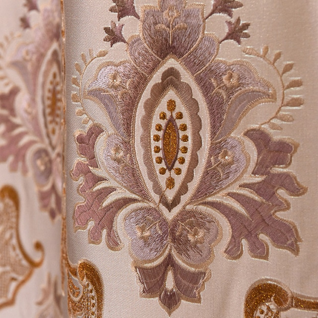 Inspiration about Us $26.48 |European Embroidered Luxury Curtains For Living Room Lace Tulle  Curtains For Bedroom Faux Silk Thick Kitchen Window Curtains In Curtains Intended For Floral Embroidered Faux Silk Kitchen Tiers (#13 of 50)