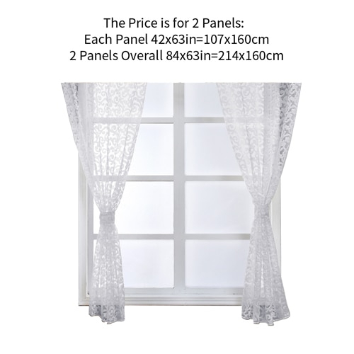 Inspiration about Us $3.66 52% Off|Napearl Classic Floral Kitchen Rod Pocket Curtains Window  Valance And Tiers Sheer Short Drapes Jacquard Tulle Bay Window Voile In With Classic Black And White Curtain Tiers (#13 of 50)