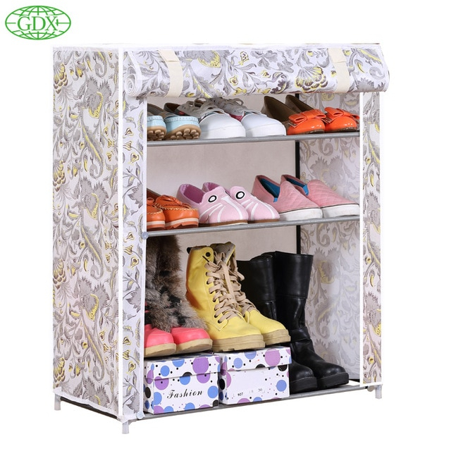 Inspiration about Us $37.49 |Gdx 1Pc 3 Tiers 9 Pairs Simple Diy Non Woven Fabric Shoes  Cabinet Foldable Dustproof Wetproof Shoe Lockers Racks Free Shipping In  Shoe Regarding Simple Life Flax Tier Pairs (#28 of 30)