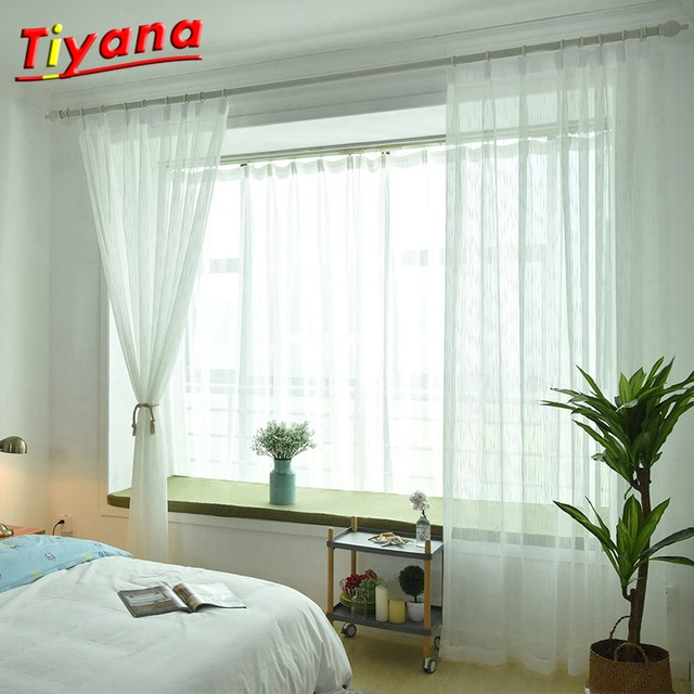 Inspiration about Us $6.92 30% Off|Weiß Sheer Tüll Vorhang Gestreiften Panel Fenster  Behandlung Streifen Vorhang Schatten Tüll Stoff Leinen Stange Tasche Ringe  Band Inside Linen Stripe Rod Pocket Sheer Kitchen Tier Sets (#19 of 46)