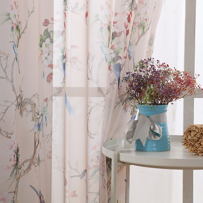 Inspiration about Us $9.8 30% Off|Rustic Kitchen Sheer Curtains For Living Room Decoration  Bird Printed Window Chiffon Tulle Curtains In Curtains From Home & Garden  On With Regard To Rustic Kitchen Curtains (#9 of 30)