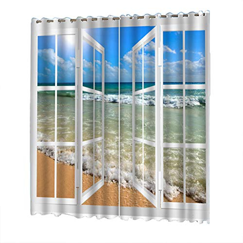 Uulike–Curtains 2 Pcs 132X245Cm Beach Tulle Blackout Room Intended For Pastel Damask Printed Room Darkening Kitchen Tiers (#42 of 50)