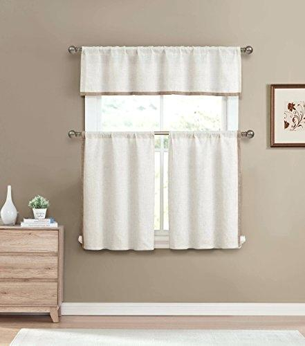 Valance And Tier Curtain Sets Linen Color 3 Piece Window Set Pertaining To Live, Love, Laugh Window Curtain Tier Pair And Valance Sets (View 42 of 50)