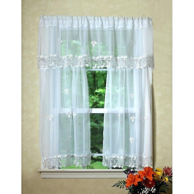 Valance And Tier Curtain Sets Linen Color 3 Piece Window Set Throughout Kitchen Window Tier Sets (#47 of 50)