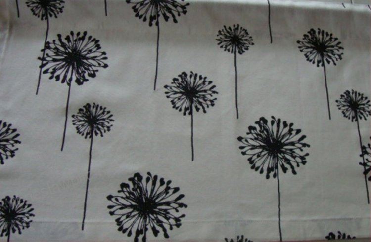 Valance Black And White Dandelion Floral Pattern Window Throughout Floral Pattern Window Valances (View 41 of 50)