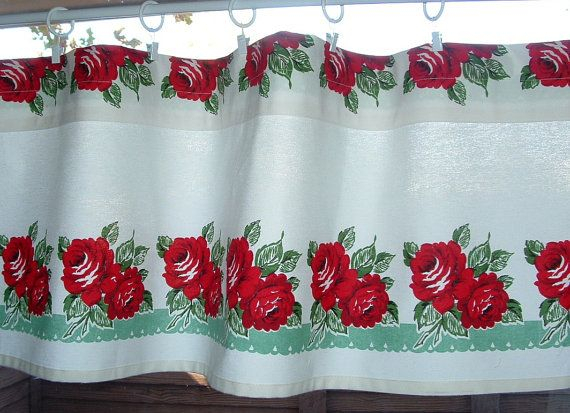 Valance Cotton 35 45 Or 52 Red Retro Roseavintagelook Pertaining To Coffee Drinks Embroidered Window Valances And Tiers (View 42 of 45)