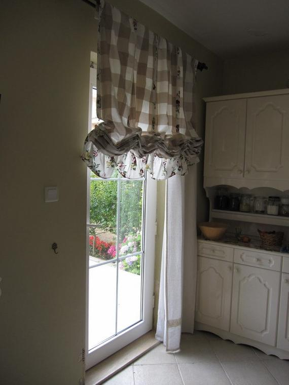 Valance Plaid Floral Ruffle Kitchen Curtain Balloon Valance Shabby Chic  Beach Cottage French Style Linen Rustic Austrian Curtain Panels Cafe For Bermuda Ruffle Kitchen Curtain Tier Sets (View 45 of 50)