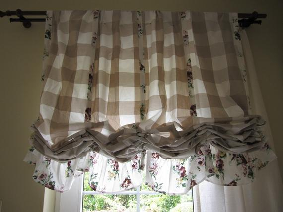 Valance Plaid Floral Ruffle Kitchen Curtain Balloon Valance Shabby Chic  Beach Cottage French Style Linen Rustic Austrian Curtain Panels Cafe Throughout Bermuda Ruffle Kitchen Curtain Tier Sets (View 46 of 50)