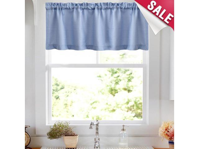 Valance Rod Pocket For Kitchen Semi Sheer Valance Curtains Casual Weave Textured Cafe Valance For Bathroom 18 Inches, 1 Panel,w50Xl18|Panel, Light In Semi Sheer Rod Pocket Kitchen Curtain Valance And Tiers Sets (View 17 of 30)