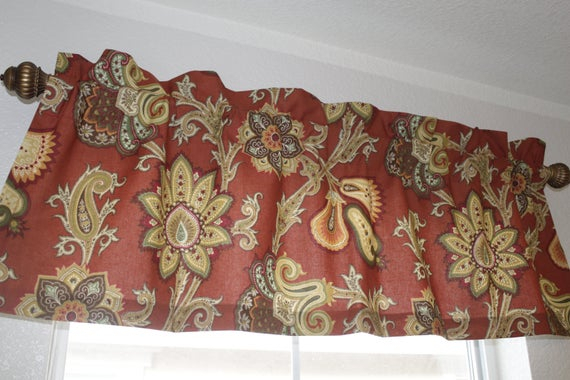 """Valances, Curtains Designer Fabric Rustic Red Floral Pattern 50"""" X 17"""" Intended For Floral Pattern Window Valances (View 43 of 50)"""