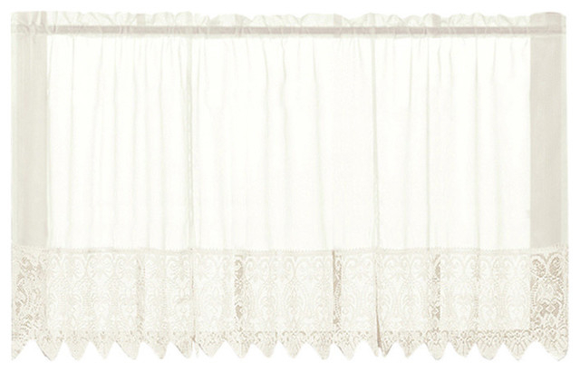 "Valerie Natural Macrame Kitchen Curtain, 24"" Tier Pertaining To Pintuck Kitchen Window Tiers (#40 of 43)"