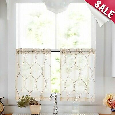 Vangao Kitchen Tier Curtain 45 Inches Long Moroccan Trellis Pattern  Embro New | Ebay For Sheer Lace Elongated Kitchen Curtain Tier Pairs (#28 of 30)