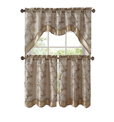 Vcny Home Audrey Complete 3 Piece Tier & Swag Kitchen Curtain Set –  Beige/gold 648609771497   Ebay Intended For Multicolored Printed Curtain Tier And Swag Sets (View 30 of 30)