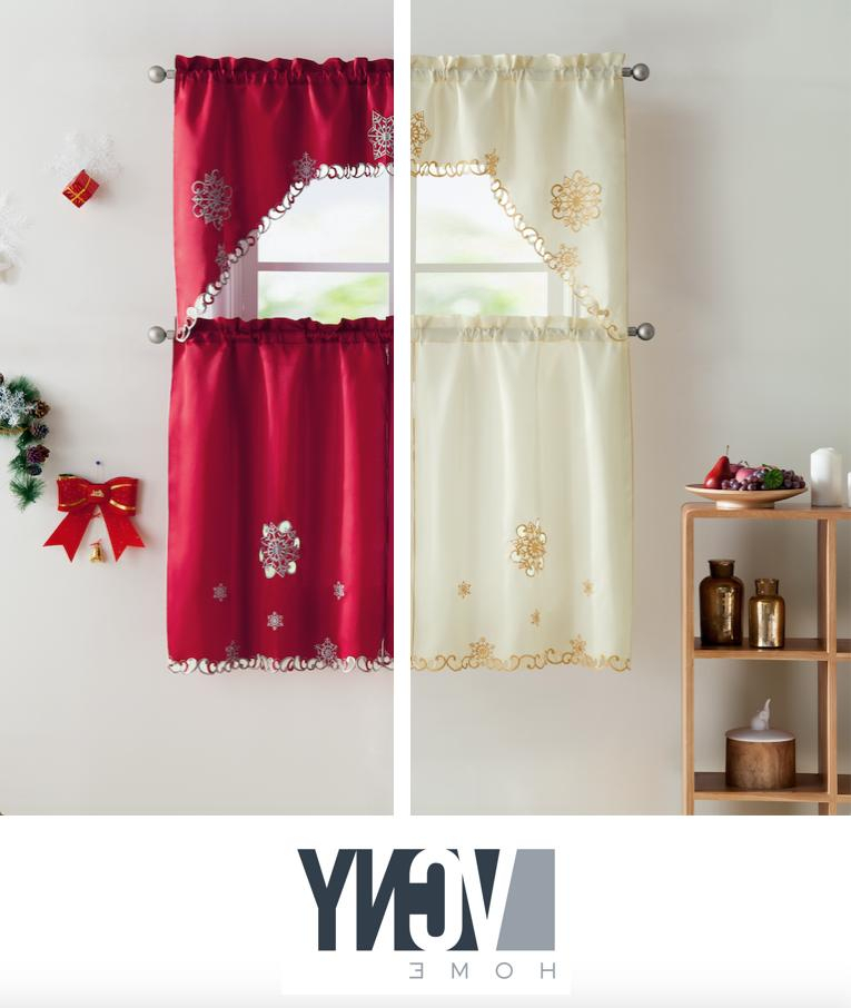 Vcny Home Christmas Embroidered Kitchen With Faux Silk 3 Piece Kitchen Curtain Sets (View 43 of 44)
