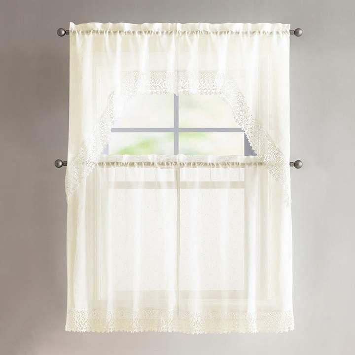 Vcny Vcny 4 Piece Farrah Lace Tier & Valance Kitchen Window Regarding Solid Microfiber 3 Piece Kitchen Curtain Valance And Tiers Sets (#45 of 50)