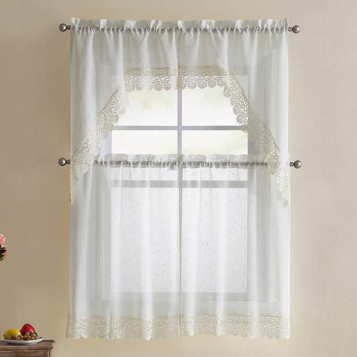 Vcny Vcny 4 Piece Galiana Lace Tier & Valance Kitchen Window Curtain Set With Regard To Pintuck Kitchen Window Tiers (#41 of 43)