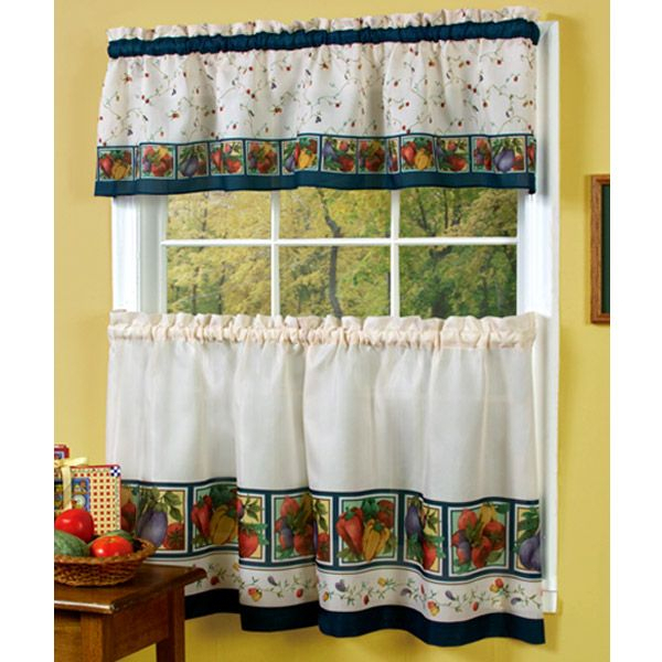 Vegetable Themed Kitchen Curtains – Veggies Kitchen Curtain Throughout Chateau Wines Cottage Kitchen Curtain Tier And Valance Sets (View 24 of 30)