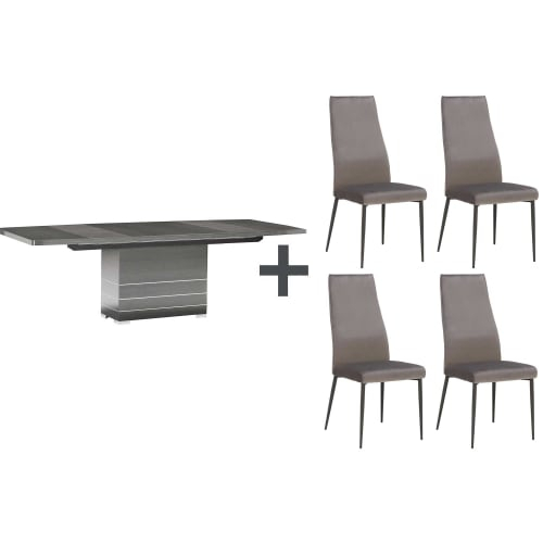 Versilia Extending Dining Table And 4 Martino Chairs Regarding Current Martino Dining Tables (#28 of 30)