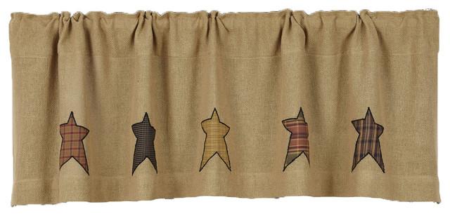 Vhc Brands Primitive Kitchen Window Curtains Stratton Tan Burlap Applique  Star V Inside Primitive Kitchen Curtains (#29 of 30)