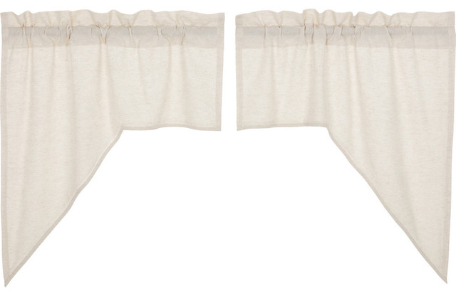 Vhc Farmhouse French Country Curtains Simple Life Flax Solid Swag Pair Intended For Simple Life Flax Tier Pairs (View 6 of 30)